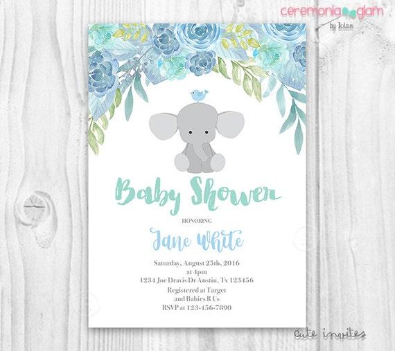 Elephant Baby Shower Boy Invitation Blue Floral Etsy