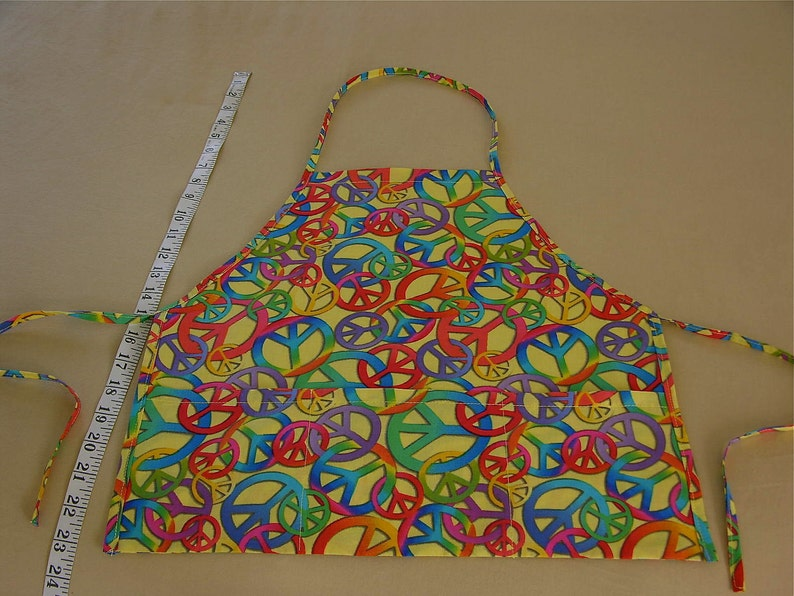 Handmade Childs Apron  Smock Bright Multi Colored Peace Signs Gift Item For Little Boys or Girls Age Approx 5 To 8 Years