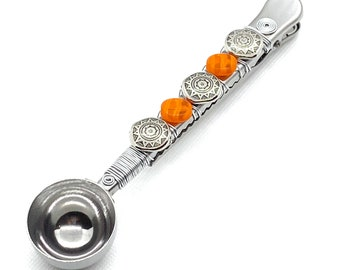 Artisan COFFEE SCOOP with clip - Wire wrapped - orange glass and sunburst bead accent