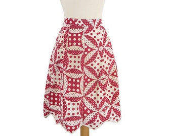 Vintage Half Apron in Red and White Deco Dots FREE SHIPPING