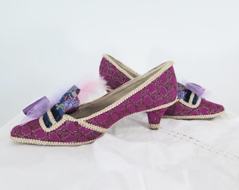 TO ORDER - Custom Embellished Shoes - Fancy Dress Pumps Rococo Heels Marie Antoinette