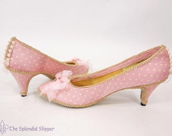 READY TO SHIP - Embellished Shoes Pink Gold Silk Rococo Heels