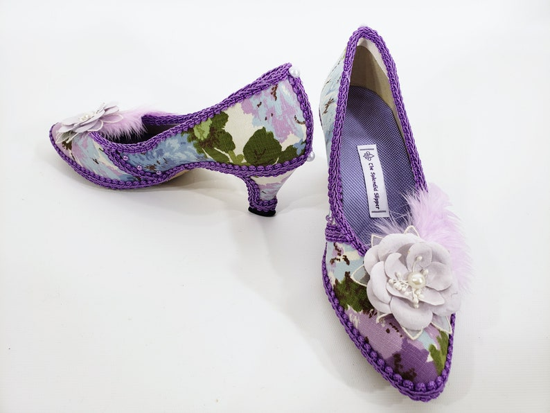 Purple Floral Rococo Embellished Shoes READY TO SHIP