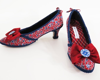 READY TO SHIP - Decorated Shoes in Red, White and Blue Rococo Pumps Fancy Dress Heels