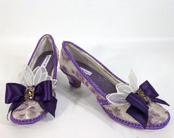 READY TO SHIP - Purple Floral Rococo Embellished Shoes