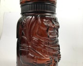 Vintage Humidor Cigar Holder Amber Glass Jar Indian Chief Humidor Tobacco Container