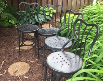 Vintage Metal Chair Set Antique UHL STEEL Chairs Set Of Four