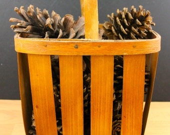 Vintage basket with Pine Cones FirePlace Decor