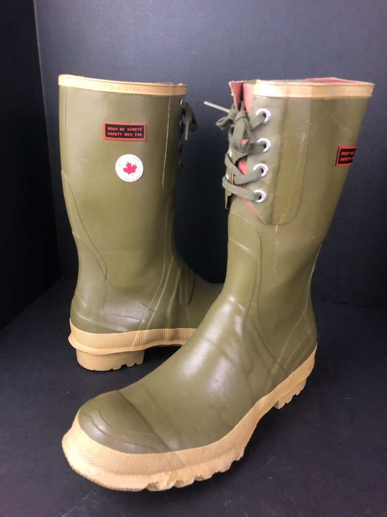 a15b5552430 Vintage Green Steel Shank Tall Boots Steel Toe Mens Rubber Boots Made in  Canada