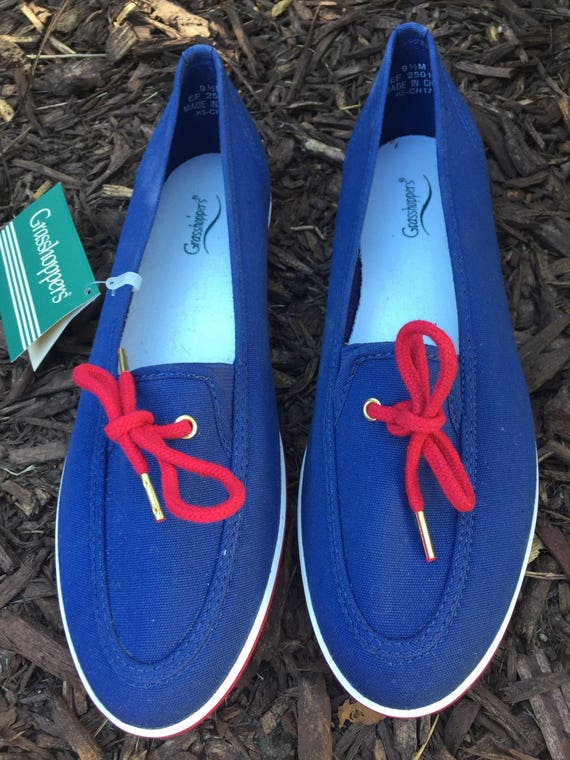 Womens Blue Red Grasshopper Canvas shoes 9.5  d6133a482