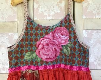Boho Polo Girl Clique Top Shabbed Rose Vintage  Rhinestone Accent Unique Cutie FREE Size