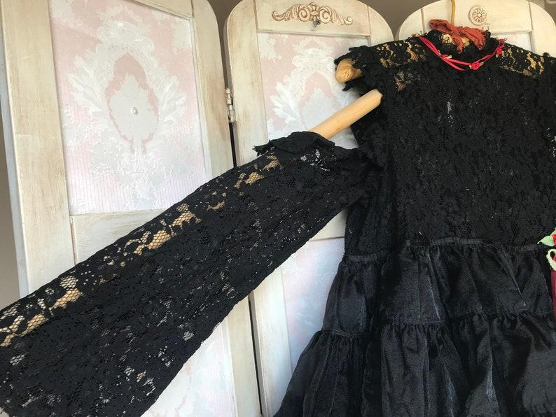 Goth Dark Mori Harejiku Tutu Voodoo Doll Dress Cut Out Shoulders Vampire Zombie Day Of The Dead Cutie Size XS Bust 3436