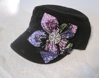 32d0a77c66c Cadet Military Hat Army Hat Petal Flower Cap Black with Purple Lavender  Petal Flower and Rhinestone Accent Women s Hats