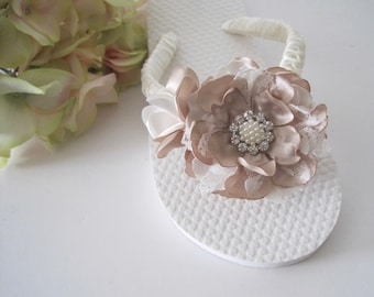 da148e010a7 Little Girl Flip Flops Bridal Wedding Flower Girl French Knotted with  Champagne Ivory and Lace Handmade Flowers Pearl and Rhinestone Accent