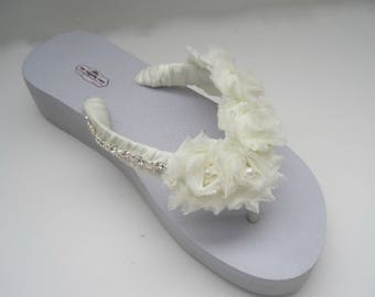 deca050c21b Flip Flops Bridal Wedding Ivory with Chiffon Flowers and Pearl and  Rhinestone Accent on Side French Knotted Wedding Sandals