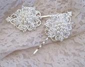 Pearl and Rhinestone Set of Two Bridal Hair Pins on Filigree Base Wedding Hair Pins Bridal Hair Accessories Wedding Accessories Bridal Prom