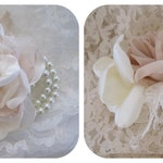 Prom Homecoming Wedding SET Wrist Corsage Boutonniere Designed in Your Colors with Pearl and Rhinestone Accents