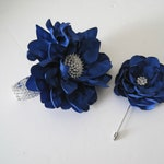 Rhinestone Wrist Corsage Bracelet Set Prom Homecoming Weddings Royal Blue Satin Corsage Set with Matching Boutonniere Custom Order