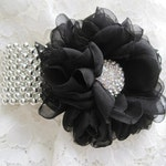 Corsage Bracelet Black Chiffon Flower Silver Cuff Wrist Corsage Choose Your Style Bracelet Prom Homecoming Wedding Custom Order