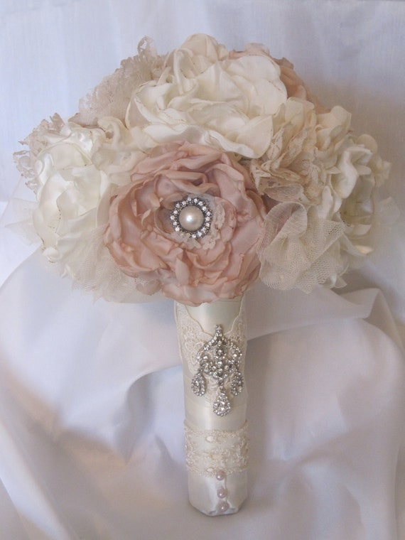 Wedding Bouquet Vintage Inspired Flower Brooch Bouquet Ivory | Etsy