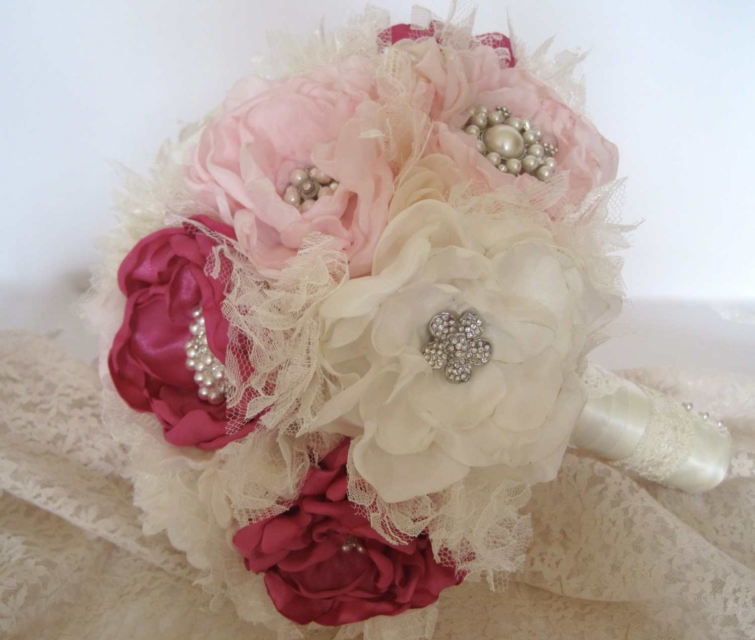 Vintage Inspired Fabric Flower Wedding Brooch Bouquet In