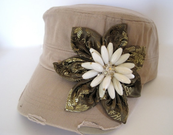 SALE     Khaki Cadet Military Distressed Army Petal Hat with Olive Green  Print Satin Flower and Adorable 3D Flower Pendant