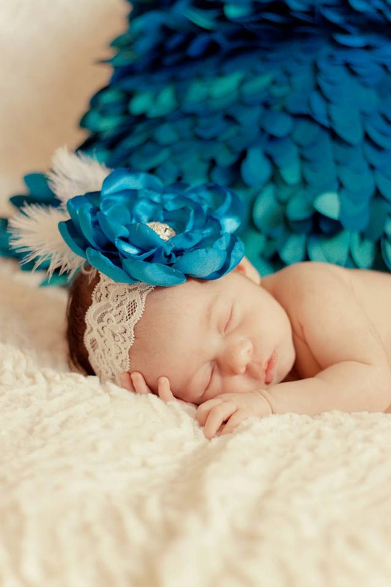 Baby Satin Flower Headband or Clip with Rhinestone Accent image 0