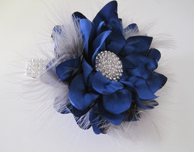 wrist corsage royal blue with grey feathers rhinestone wrist etsy. Black Bedroom Furniture Sets. Home Design Ideas