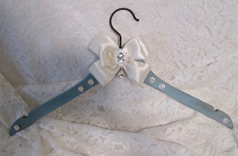 Bridal Dress Hanger Wedding Hanger Something Blue Hanger Bride Bridesmaid Dress Hanger Bridal Party Hangers Bow Hanger Bling Hanger