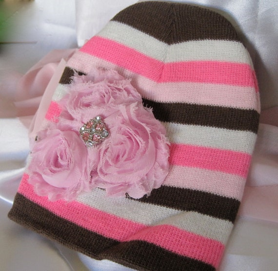 fa6b29c34fc SALE.....Pink Brown and White Striped Baby Beanie with Three