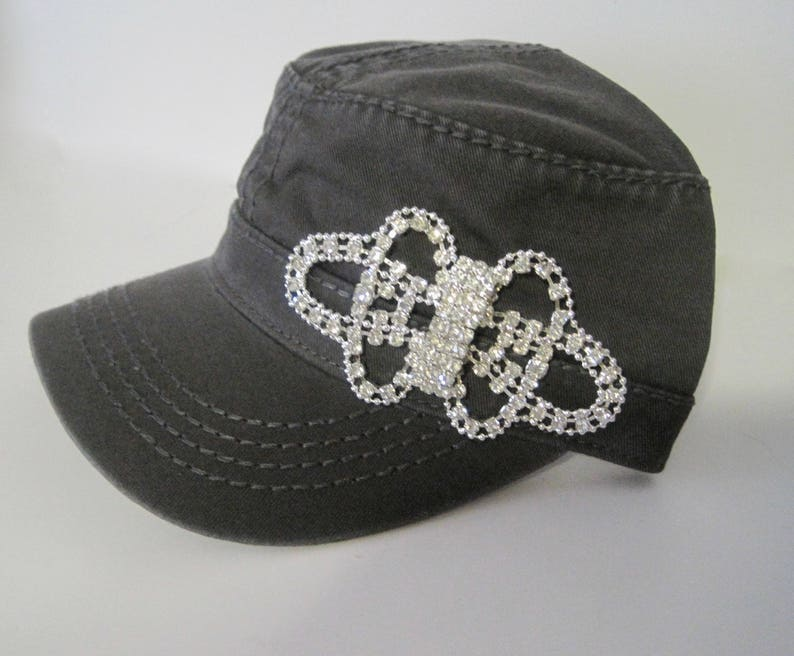 215d4b80 Charcoal Grey Cadet Military Army Hat with Gorgeous All   Etsy