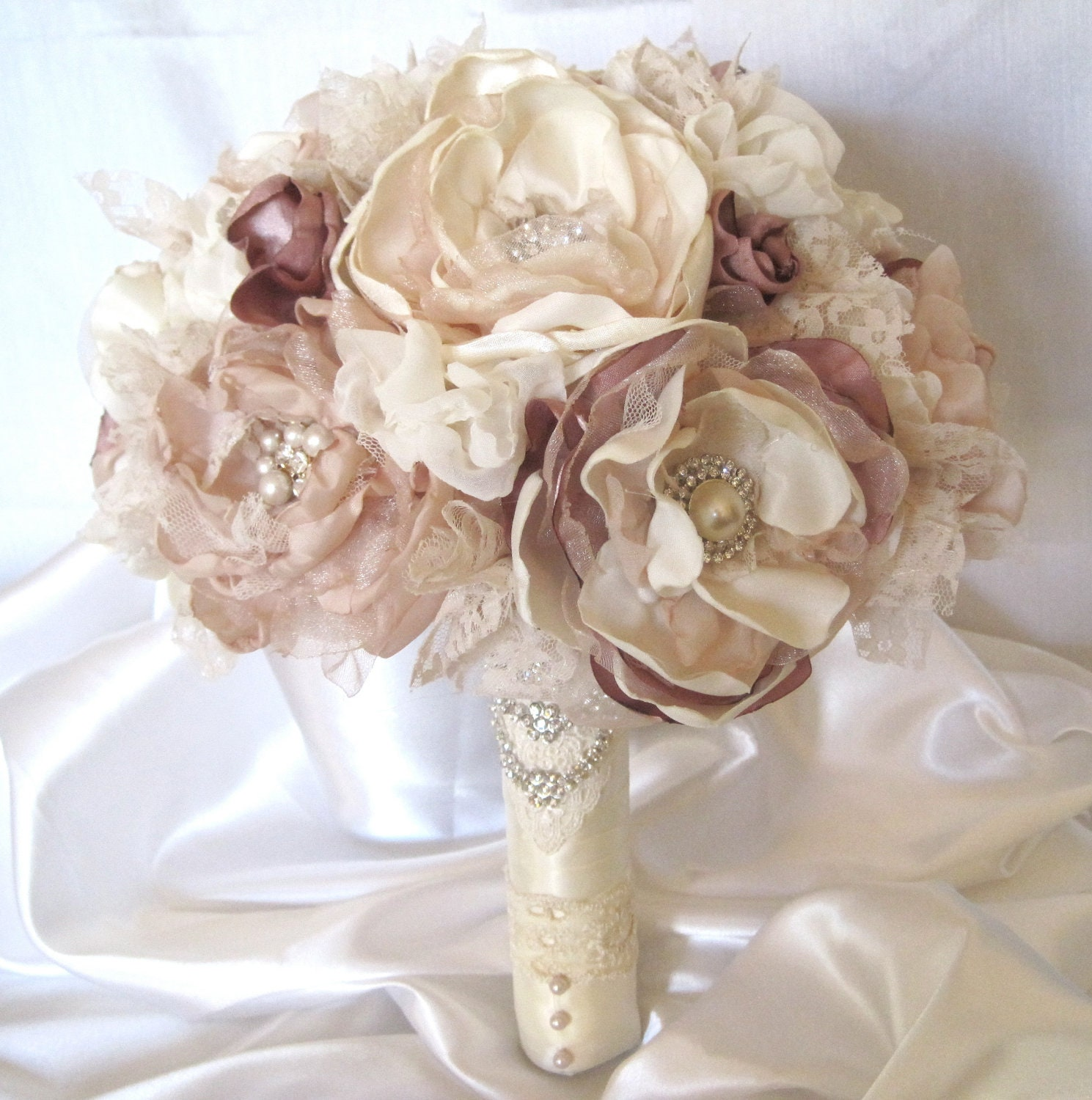 Wedding Bouquet Fabric Flower Vintage Inspired Brooch