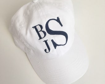 Monogrammed Baseball Cap Embroidered Monogram Hat Vine Circle Initials  Adjustable Personalized Initial Hat 9f363a35fafb