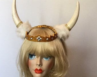 MARDI GRAS Viking Queen, Horns, Birthday, Costume fascinator