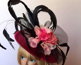 Fascinator, Hot pink saucer, black accents. Perfect for Derby or The Oaks, Easter, Tea party, Kentucky Derby, Couture, Bridal, Wedding, HAT