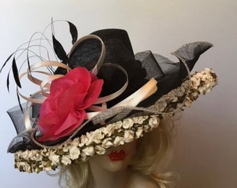 Black large brim hat.  White straw fliers on brim w pink silk roses. Derby, Tea Party Hat, Easter, Kentucky Derby Hat, Couture Hat