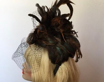 Fascinator-black/brown feathers. Perfect for Derby or The Oaks, Easter, Tea party, Kentucky Derby, Couture, Bridal, Wedding, HAT