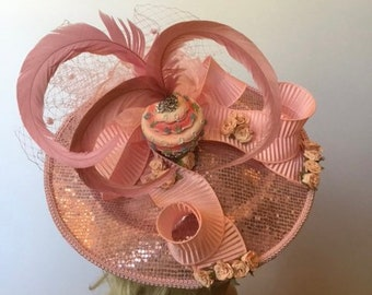 BIRTHDAY, Cupcake, Pink Spring Fascinator Derby, Tea Party, Easter, Kentucky Derby, Couture Fascinator, Dress, Party, Wedding, Bridal, Hat