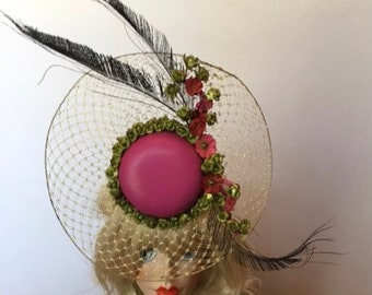 UNIQUE Fascinator perfect for The Oaks, Pink fascinator, Derby Fascinator, Tea Party, Kentucky Derby, Easter, Couture, hat, ONE of a KIND
