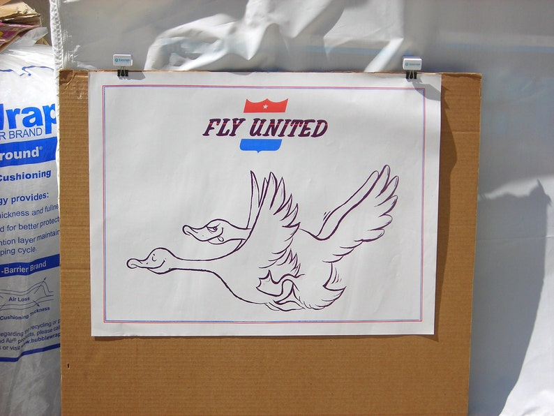 Vintage 1970/'s Fly United Hippie Poster Airline Geese