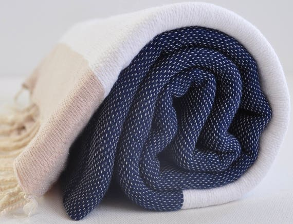 Turkish Peshtemal Marine Cotton Towel Genuine Hand Loomed For Beach And Bath In Dark Blue,White And Beige Color by Etsy