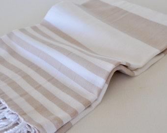 Turkish Beach towel Cotton Peshtemal Towel in latte and white color