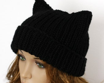 Ladies beanie   Black Cat  ! Hand knitted 91dfbebe4a81