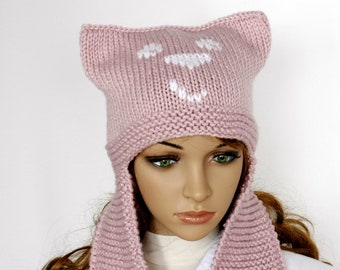 913d6c29913 Womens Ear Hat Chunky Knit Cable Beanie powder pink. Earflap Hat - Bear hat  - Womens Knit Accessories Winter Hat