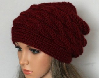 ce14646dae8 Hand knitted ladies slouchy beanie. A lovely hat available in many colours.