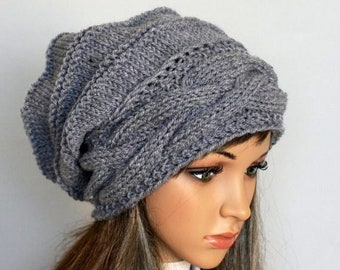 9effa715 Knitted Hat Large women Oversized Hat winter Big Baggy Hat Winter Adult  Teen Fashion Knit Slouchy Hat winter hat big hat In many colours.