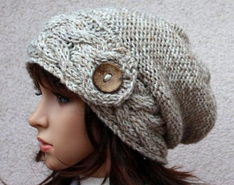 61b44665a7e Hand knitted warm slouchy beanie. Soft and comfortable hat
