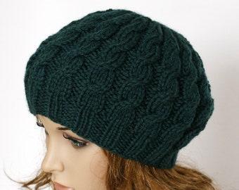1c60b3109d8 Hand Knitted Ladies Hat Cable Beret Chunky Knit Hat Womens Hat - Green Hat  Green Beret Green Beanie Womens Accessories