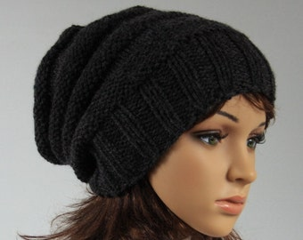 Hand knitted unisex slouchy beanie 0c3616401ad8