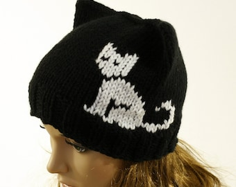4a700723885 Ladies beanie   Black Cat  ! Hand knitted